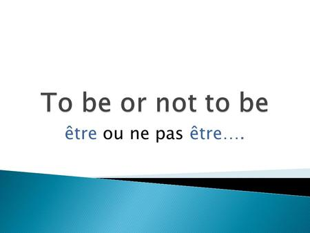 "Être ou ne pas être…..  What does this mean?  It means pairing up the subject with the right form of the verb.  For example, the verb ""to be"" in English."