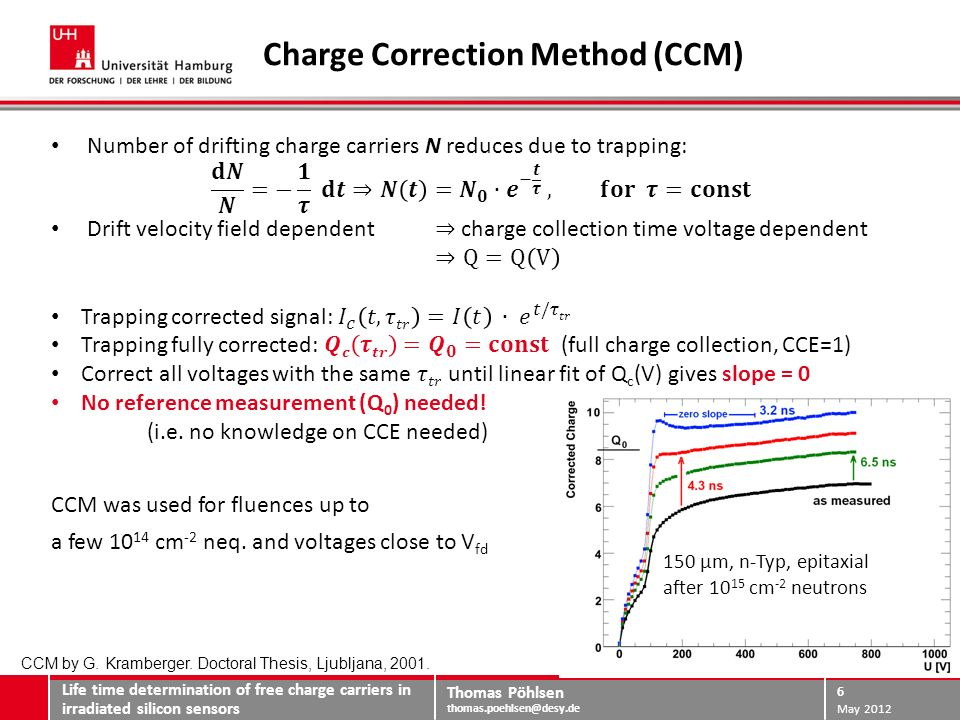 Thomas Pöhlsen thomas.poehlsen@desy.de Limitations of the Charge Correction Method Life time determination of free charge carriers in irradiated silicon sensors May 2012 7 3·10 14 cm -2 10 15 cm -2 TCT with particles after 23 GeV proton irradiation J.