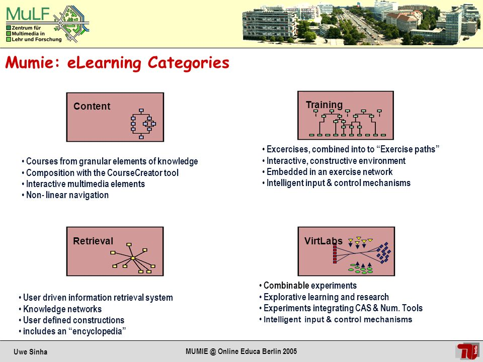 Uwe Sinha MUMIE @ Online Educa Berlin 2005 Mumie Design Concepts: Support multiple learning scenarios Support classroom-style teaching General Design Concepts: Pedagogical Concept: Concept for contents: Technical Concept: Visualize mathematical contexts Non-linear navigation Visualize mathematical concepts & objects Support experimental scenarios Support explorative learning Adapt to individual learning styles Modularity – Granularity Mathematical precision Split Teacher - Author Split Content – Use DB based on field-specific ontology XML-Technology Dynamic, on-the-fly, generation of pages Strict separation of content and layout Theme concept for user-adaptive presentation MathML used for presentation of mathematical symbols OpenSource