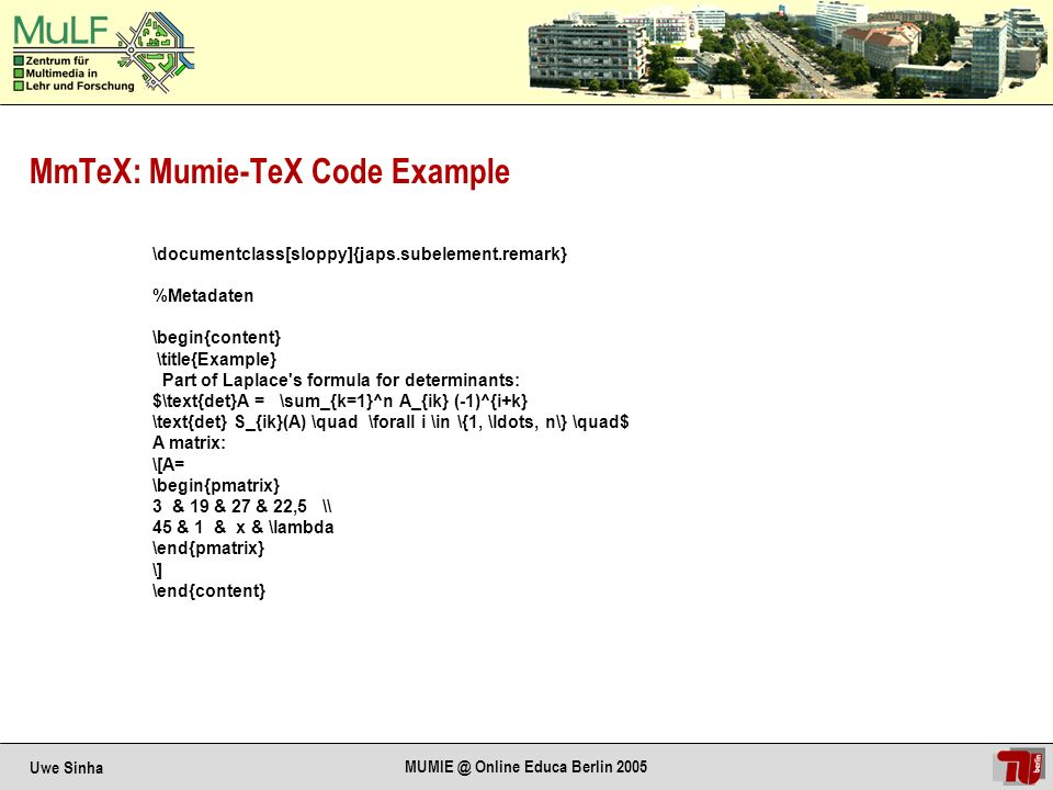 Uwe Sinha MUMIE @ Online Educa Berlin 2005 Result