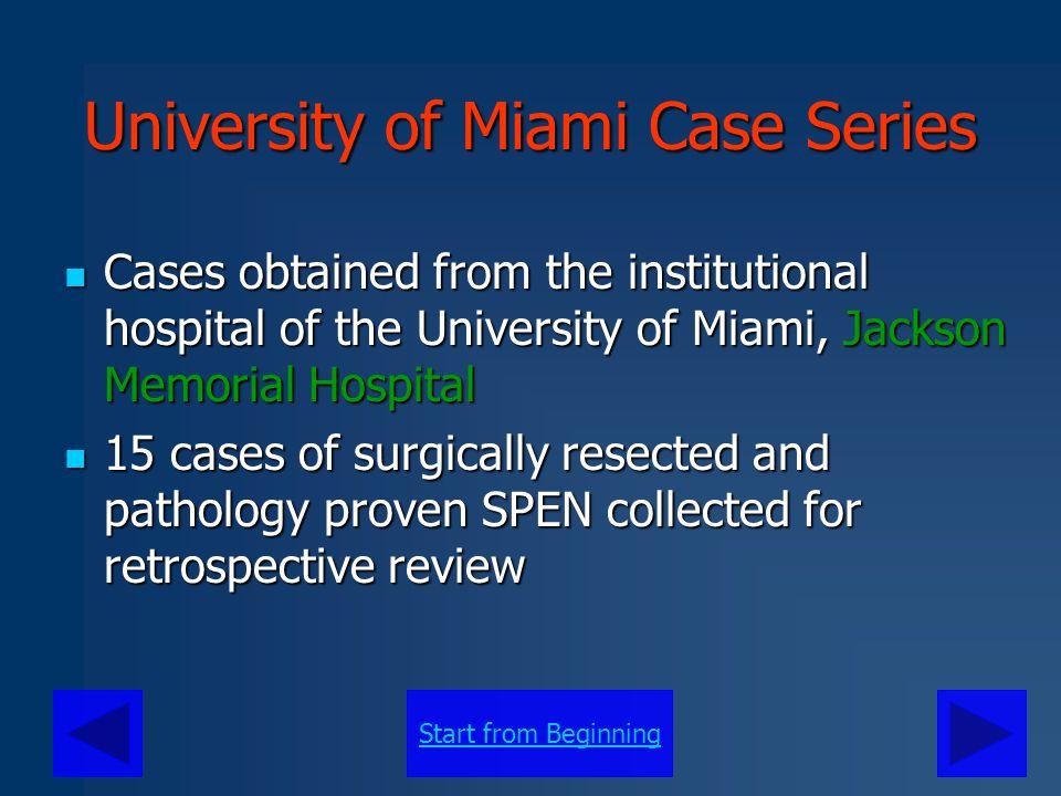 Start from Beginning University of Miami Case Series Gender # of Cases Avg.