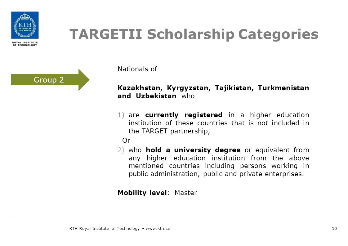 Total TARGETII available Scholarships 11 Bachelor WHEN.