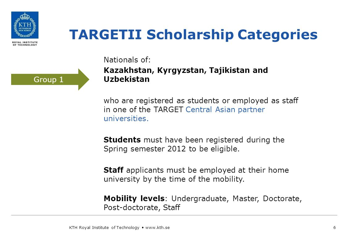 Central Asian partner universities 7 Group 1 Group 2 WHEN.