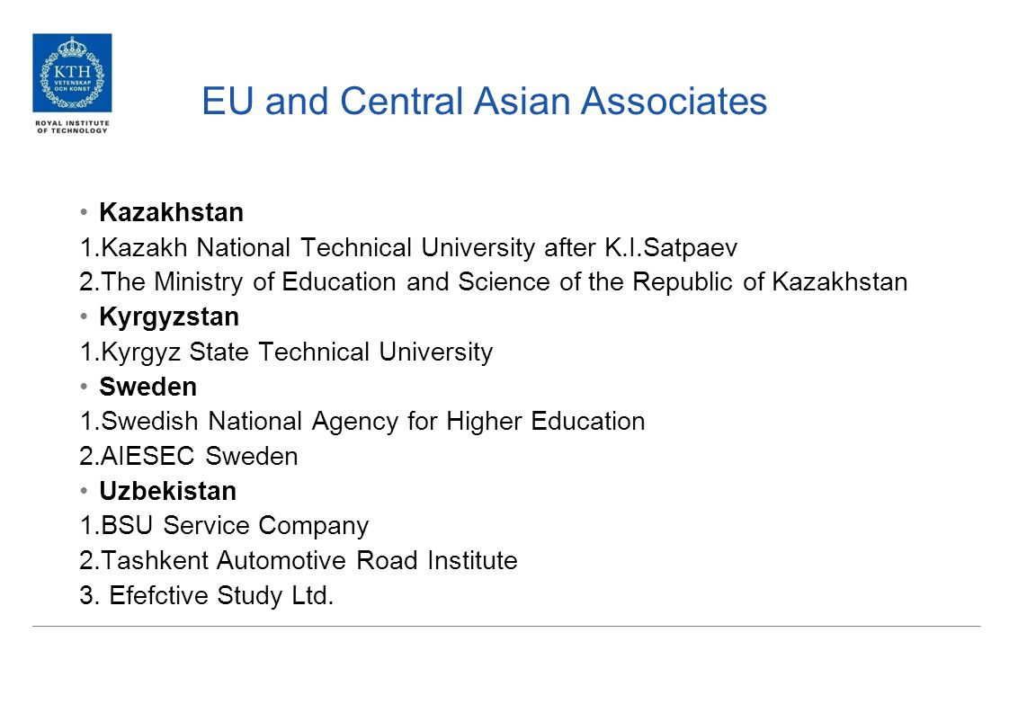 EU universities 1.KTH Royal Institute of Technology - SwedenKTH Royal Institute of Technology 2.