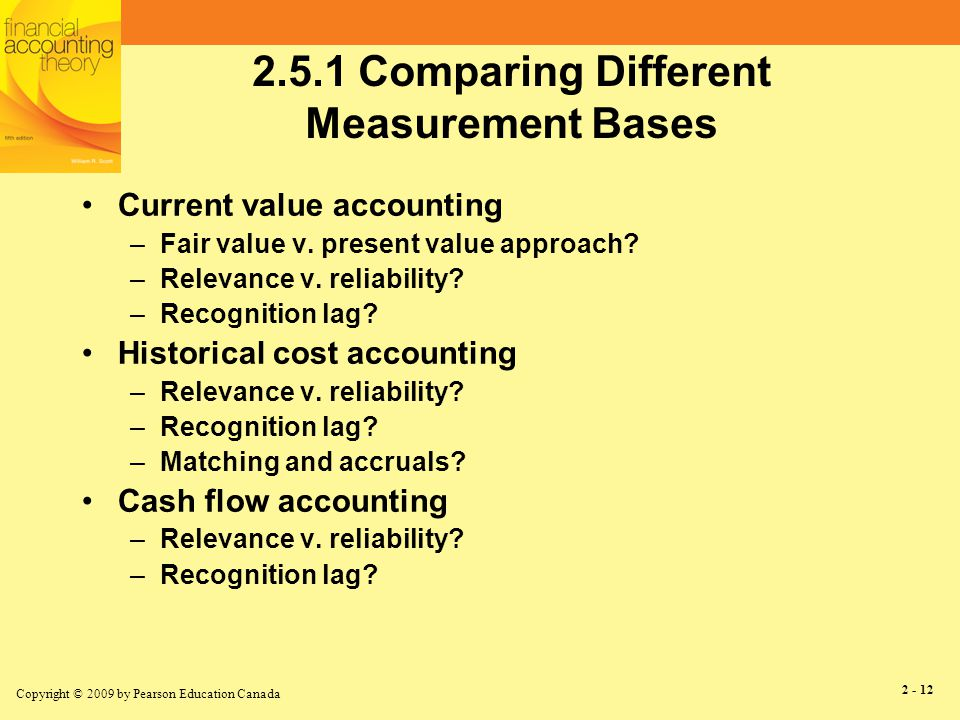 Copyright © 2009 by Pearson Education Canada 2 - 13 The Mixed Measurement Model Current value accounting for some items –Accounts receivable, financial instruments –Pension and lease liabilities Historical cost accounting for some items –Inventory –Long-term debt –Property, plant & equipment, purchased goodwill Cash flow accounting for some items –Self-developed goodwill Shows up in income statement as realized »Continued