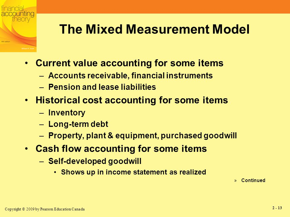 Copyright © 2009 by Pearson Education Canada 2 - 14 The Mixed Measurement Model (continued) Why use different measurement bases.