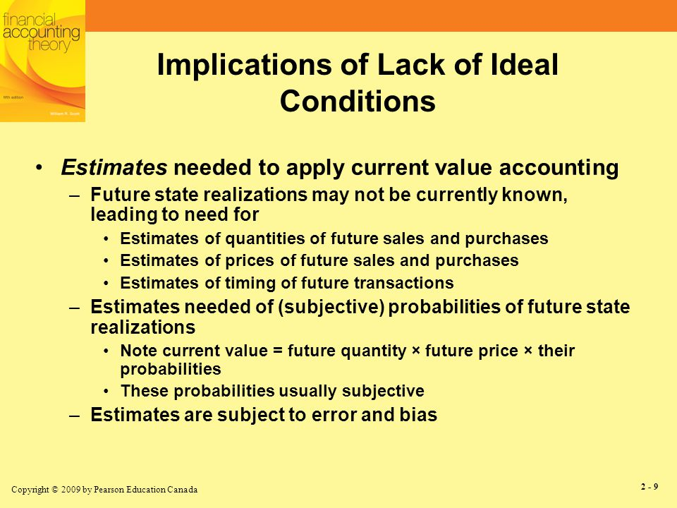 Copyright © 2009 by Pearson Education Canada 2 - 10 Conclusion re: Lack of Ideal Conditions Greater relevance requires more estimates But, more estimates decrease reliability Relevance and reliability must be traded off –See next slide