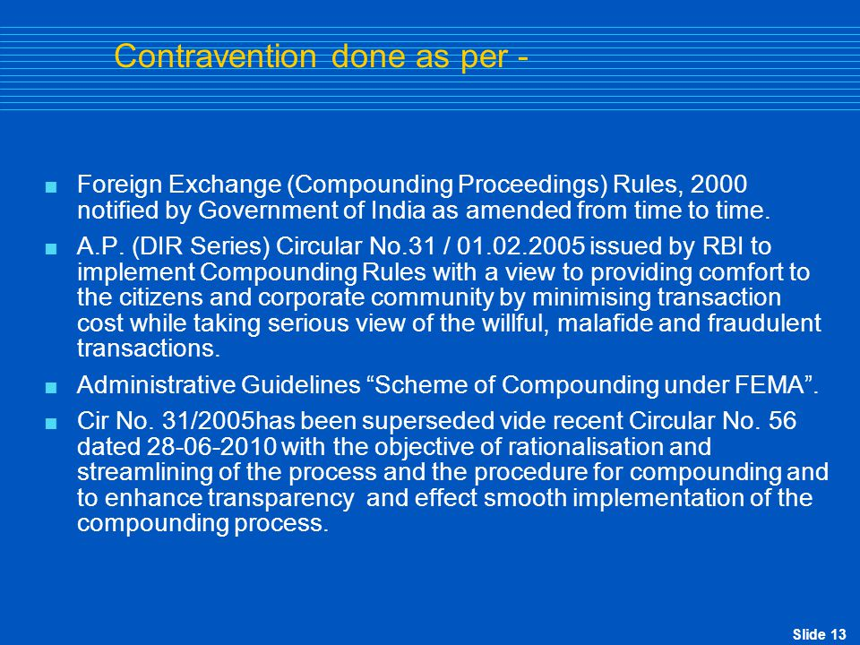 Slide 14 Compounding rules  FE (Com.Proceedings) Rules, 2000.