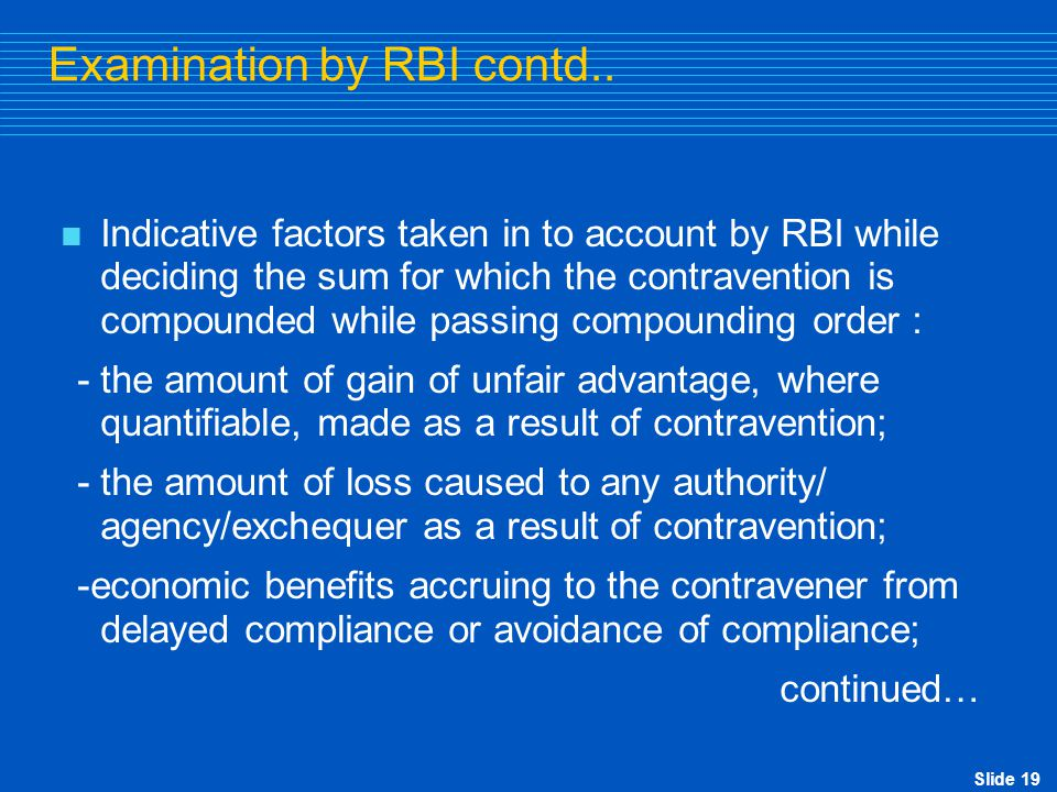 Slide 20 Examination by RBI contd..