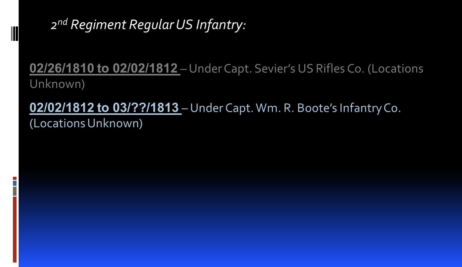 2 nd Regiment Regular US Infantry: 02/26/1810 to 02/02/1812 – Under Capt.