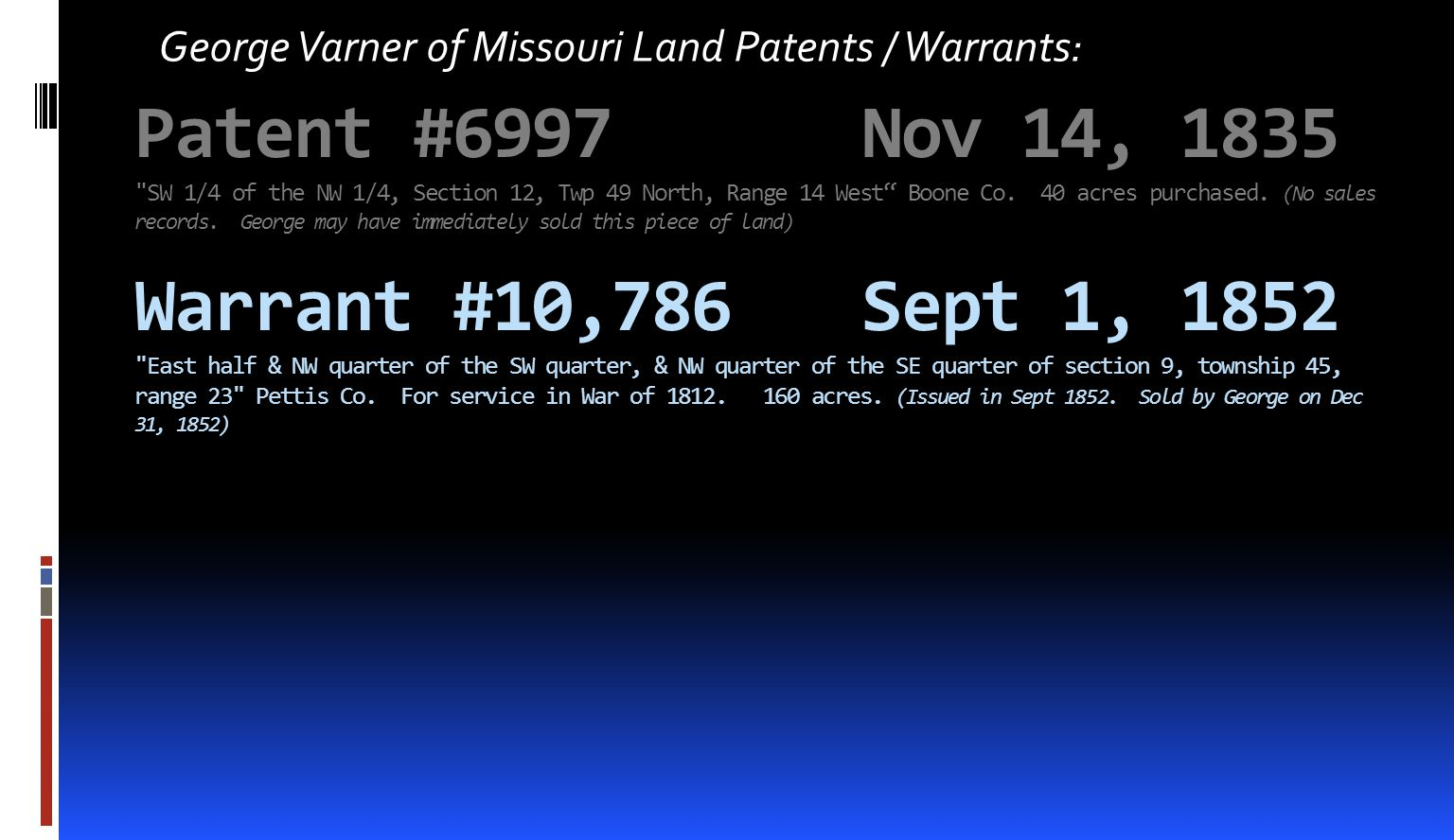 Patent #6997Nov 14, 1835 SW 1/4 of the NW 1/4, Section 12, Twp 49 North, Range 14 West Boone Co.