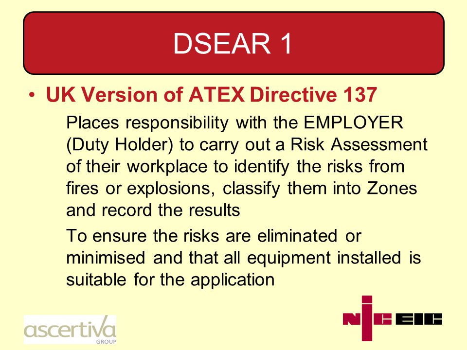 DSEAR 2 Before any workplace containing areas classified as hazardous is used for the first time, the employer shall ensure that its overall explosion safety is verified by a person who is competent in the field of explosion protection as a result of their experience or any professional training or both