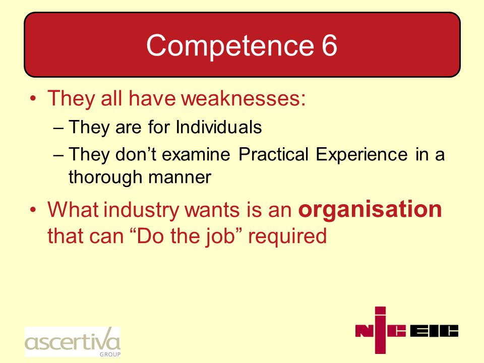 Competence 8 The requirements for being competent has always appeared in Legislation, but now appear in other, more workable, documents.