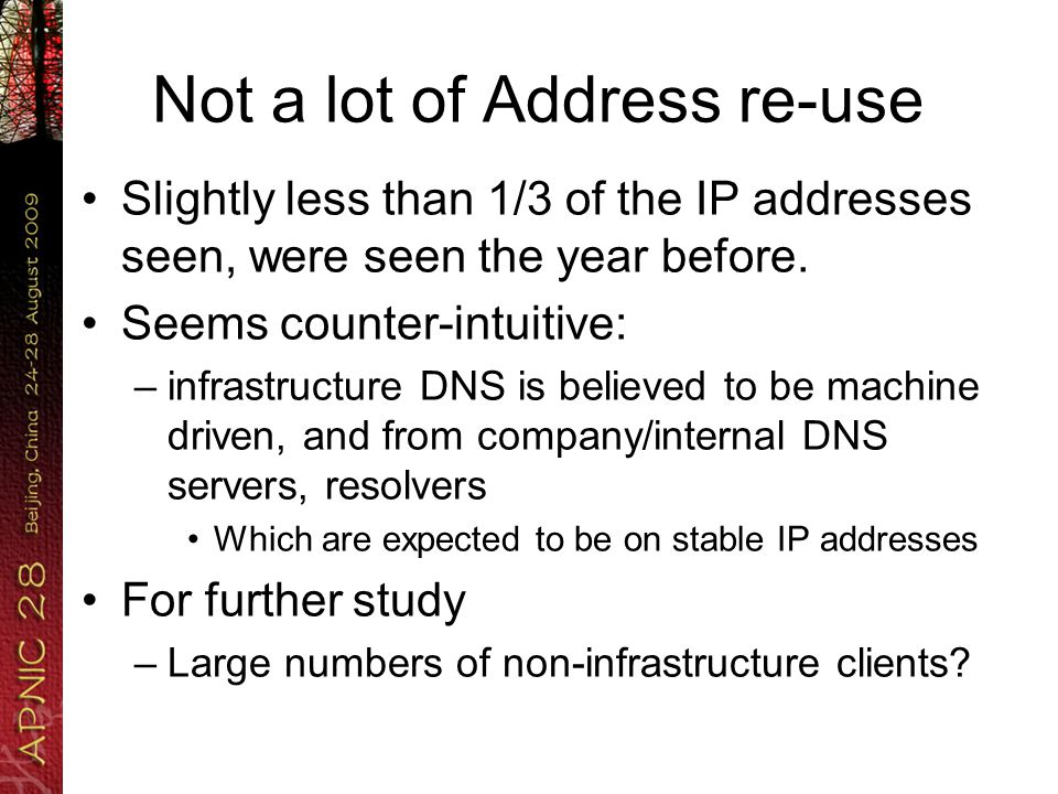 Brief quiz If a DNS server queries for reverse-DNS… Would you not expect it to query for a lot of reverse DNS.