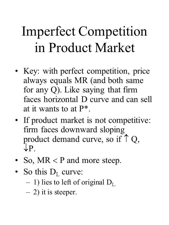 Example Key: With imperfect competition: firm faces downward sloped product demand curve, so to  Q, must  P.