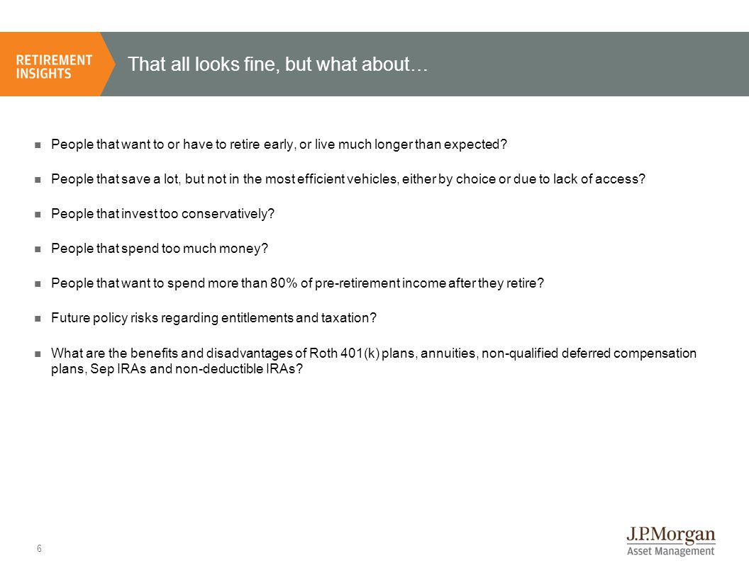 7 Early retirement can be costly, even for diligent savers Source: TPC, BEA, NAR, BLS, J.P.