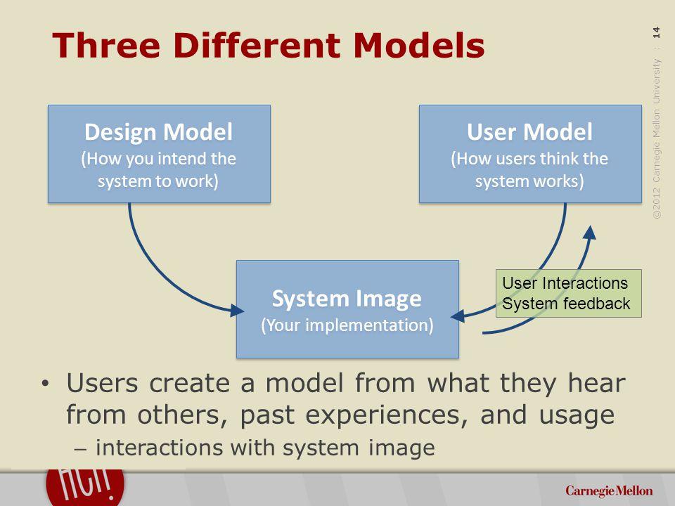 ©2012 Carnegie Mellon University : 15 Mental Models People inevitably build models of how things work – Ex.