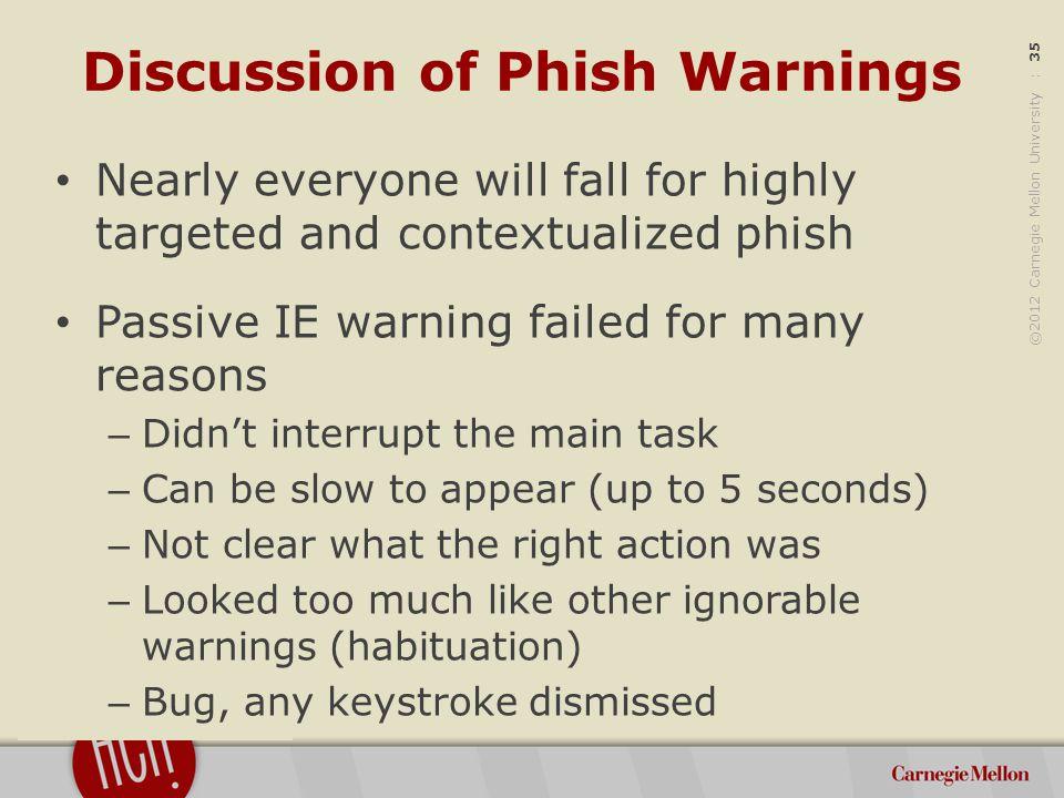 ©2012 Carnegie Mellon University : 36 Screenshots Internet Explorer – Passive Warning