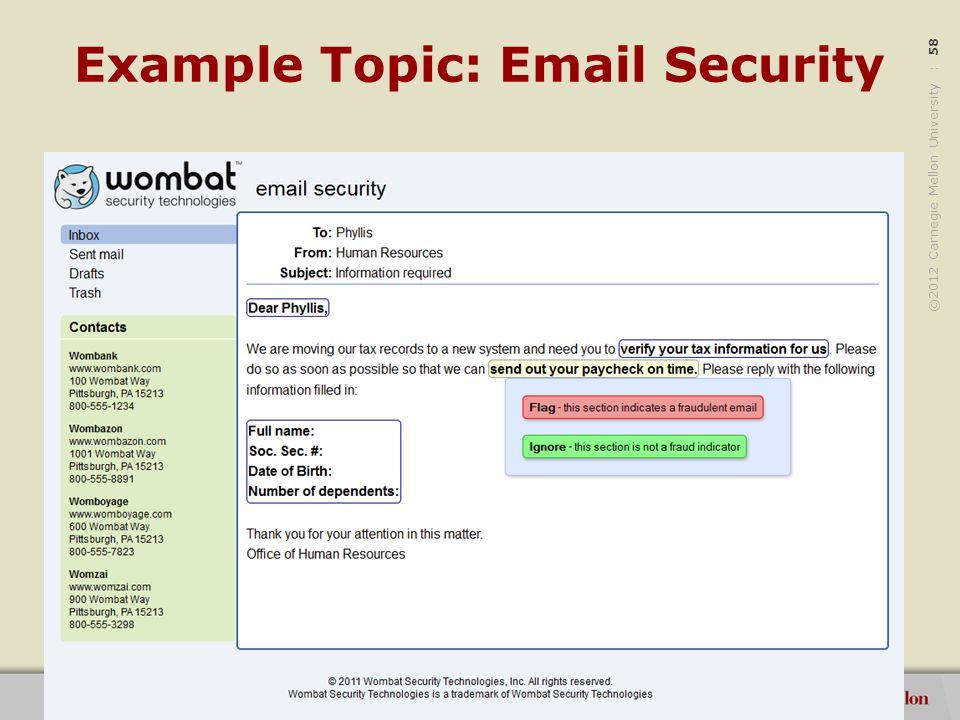 ©2012 Carnegie Mellon University : 59 Example Topic: Passwords