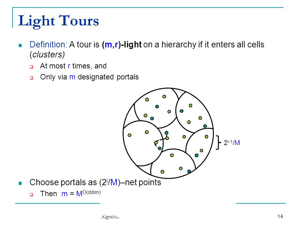 Optimizing over Light Tours Theorem [Arora'98,Talwar'04]: Given a hierarchical partition, a minimum-length (m,r)-light tour for it can be computed exactly  In time m r∙O(ddim) n∙log n  Via dynamic programming  Join tours for small clusters into tour for larger cluster Algorithmic Frontiers of Doubling Metric Spaces Typically both m,r ≈ polylog(n/ε), thus m r ≈ n polylog n 15