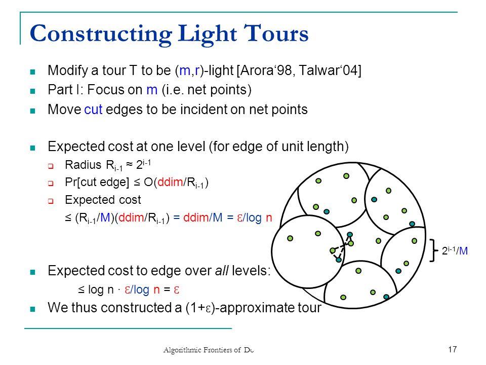 Constructing Light Tours (2) Modify a tour to be (m,r)-light [Arora'98, Talwar'04]  Part II: Focus on r (i.e.