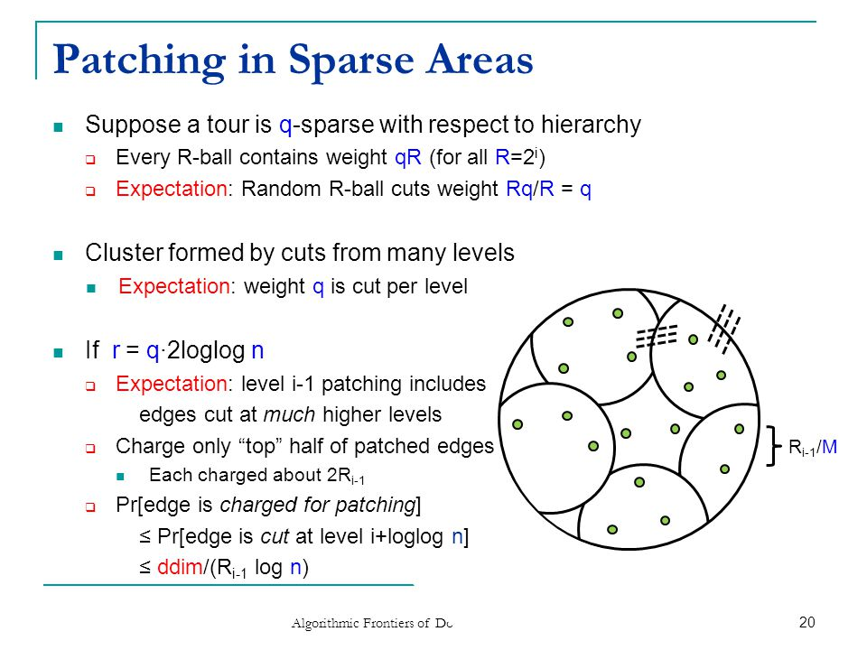 Wrapping Up (Patching Sparse Areas) Modify a tour to be (m,r)-light [Arora'98, Talwar'04]  Part II: Focus on r (i.e.