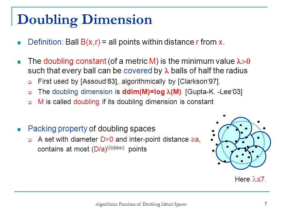 Applications of Doubling Dimension Nearest neighbor search  [K.-Lee'04; HarPeled-Mendel'06; Beygelzimer-Kakade-Langford'06; Cole-Gottlieb'06] Spanners, routing  [Talwar'04; Kleinberg-Slivkines-Wexler'04; Abraham-Gavoille-Goldberg-Malkhi'05; Konjevod-Richa-Xia-Yu'07, Gottlieb-Roditty'08; Elkin-Solomon'12;] Distance oracles  [HarPeled-Mendel'06; Bartal-Gottlieb-Roditty-Kopelowitz-Lewenstein'11] Dimension reduction  [Bartal-Recht-Schulman'11, Gottlieb-K.'11] Machine learning and statistics  [Bshouty-Yi-Long'09; Gottlieb-Kontorovich-K.'10,'12; ] Algorithmic Frontiers of Doubling Metric Spaces 8 G 2 1 1 H 2 1 1 1 8