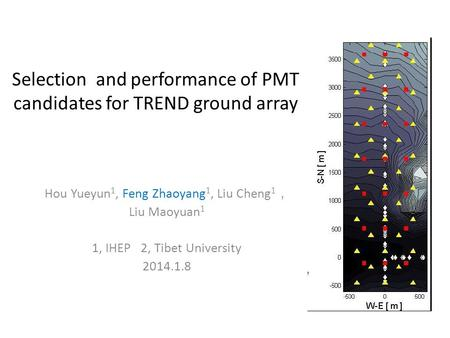 Selection and performance of PMT candidates for TREND ground array Hou Yueyun 1, Feng Zhaoyang 1, Liu Cheng 1 , Liu Maoyuan 1 1, IHEP 2, Tibet University.