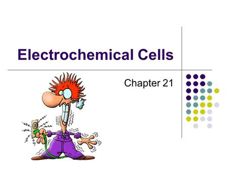 Electrochemical Cells Chapter 21. Electrochemistry 1.Galvanic/Voltaic Cells (Batteries) (Make electricity from chemical reactions) 2.Electrolysis / Electrolytic.