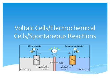 Voltaic Cells/Electrochemical Cells/Spontaneous Reactions.
