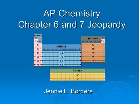 AP Chemistry Chapter 6 and 7 Jeopardy Jennie L. Borders.