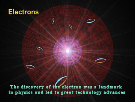 Electrons The discovery of the electron was a landmark
