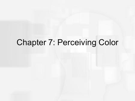 Chapter 7: Perceiving Color