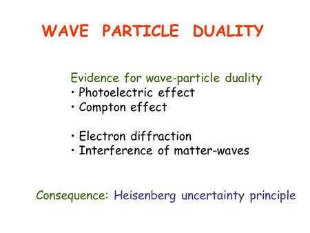 WAVE PARTICLE DUALITY Evidence for wave-particle duality Photoelectric effect Compton effect Electron diffraction Interference of matter-waves Consequence:
