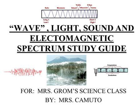 """WAVE"", LIGHT, SOUND AND ELECTOMAGNETIC SPECTRUM STUDY GUIDE FOR: MRS. GROM'S SCIENCE CLASS BY: MRS. CAMUTO."