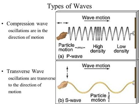 Types of Waves Compression wave oscillations are in the direction of motion Transverse Wave oscillations are transverse to the direction of motion.