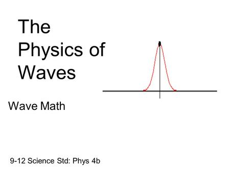 The Physics of Waves Wave Math 9-12 Science Std: Phys 4b.