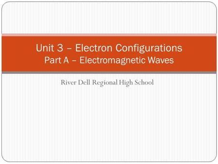 River Dell Regional High School Unit 3 – Electron Configurations Part A – Electromagnetic Waves.