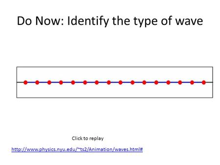Do Now: Identify the type of wave Click to replay