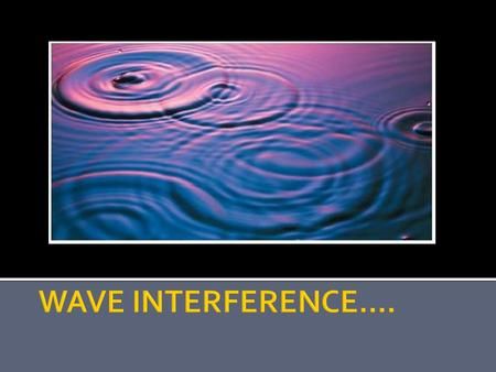 WAVE INTERFERENCE.....
