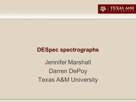 DESpec spectrographs Jennifer Marshall Darren DePoy Texas A&M University.