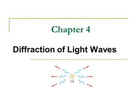 Chapter 4 Diffraction of Light Waves. Diffraction Huygen's principle requires that the waves spread out after they pass through slits This spreading out.