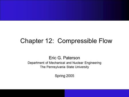 Chapter 12: Compressible Flow