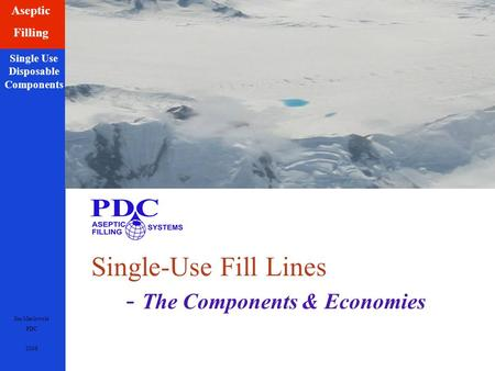 Jim Maslowski PDC 2008 Aseptic Filling Single Use Disposable Components Single-Use Fill Lines - The Components & Economies.