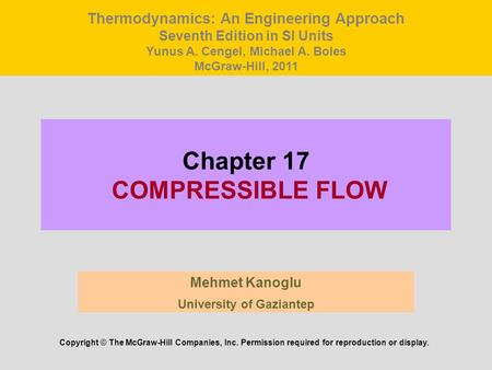 Chapter 17 COMPRESSIBLE FLOW