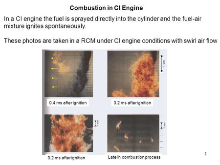 1 Combustion in CI Engine In a CI engine the fuel is sprayed directly into the cylinder and the fuel-air mixture ignites spontaneously. These photos are.