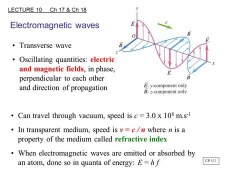 Electromagnetic waves Transverse wave Oscillating quantities: electric and magnetic fields, in phase, perpendicular to each other and direction of propagation.