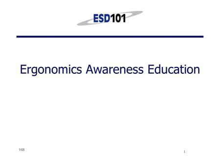 1/05 1 Ergonomics Awareness Education. 1/05 2 Definition of ergonomics Ergonomics is the science and practice of designing jobs and workplaces to match.
