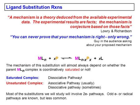 "Ligand Substitution Rxns ""A mechanism is a theory deduced from the available experimental data. The experimental results are facts; the mechanism is conjecture."