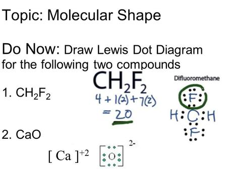 Topic: Molecular Shape Do Now: Draw Lewis Dot Diagram for the following two compounds 1. CH 2 F 2 2. CaO [ Ca ] +2.